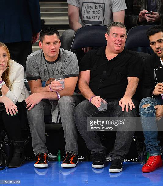 Alex Carr and Elvis Duran attend the Boston Celtics vs New York Knicks game at Madison Square Garden on March 31 2013 in New York City