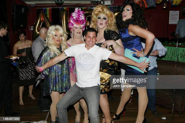 Alex Carr Ariel Sinclair Tiffany Wells Gusty Wind and Renee Fleming attend Alex Carr's birthday celebration at The Stonewall Inn on June 16 2012 in...