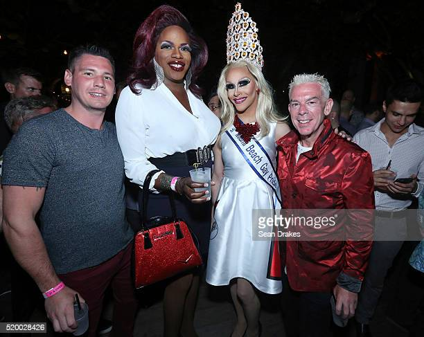 Alex Carr performer Tiffany Fantasia Miss Miami Beach Gay Pride Kalah Mendoza and American radio show host Elvis Duran pose during the VIP Reception...