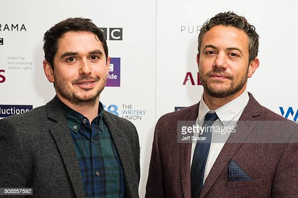Alex Carter and Warren Brown arrive at the Writers Guild Awards at RIBA on January 18 2016 in London England