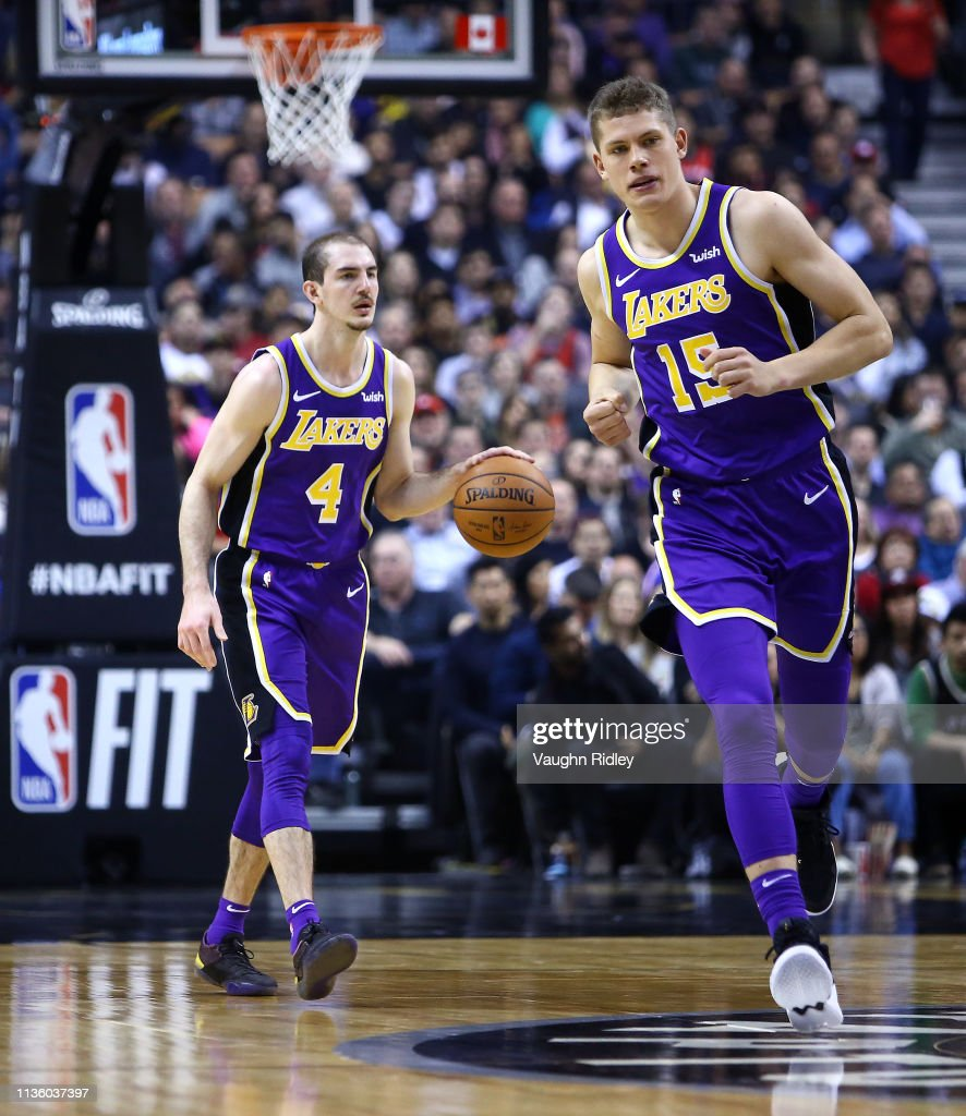 e096348b2ae Alex Caruso and Moritz Wagner of the Los Angeles Lakers head up ...