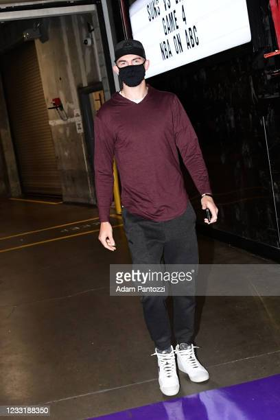 Alex Caruso of the Los Angeles Lakers arrives to the arena before the game against the Phoenix Suns during Round 1, Game 4 of the 2021 NBA Playoffs...