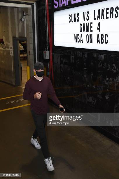 Alex Caruso of the Los Angeles Lakers arrives to the arena prior to the game against the Phoenix Suns during Round 1, Game 4 of the 2021 NBA Playoffs...