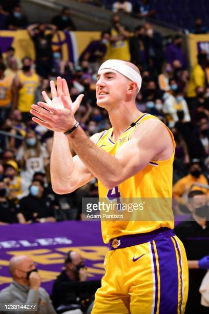 Alex Caruso of the Los Angeles Lakers cheers during the game against the Phoenix Suns during Round 1, Game 3 of the 2021 NBA Playoffs on May 27, 2021...