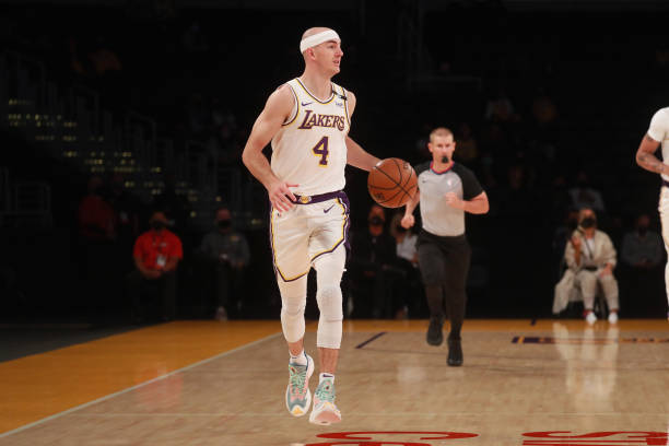 Alex Caruso of the Los Angeles Lakers dribbles the ball against the Phoenix Suns on May 9, 2021 at STAPLES Center in Los Angeles, California. NOTE TO...