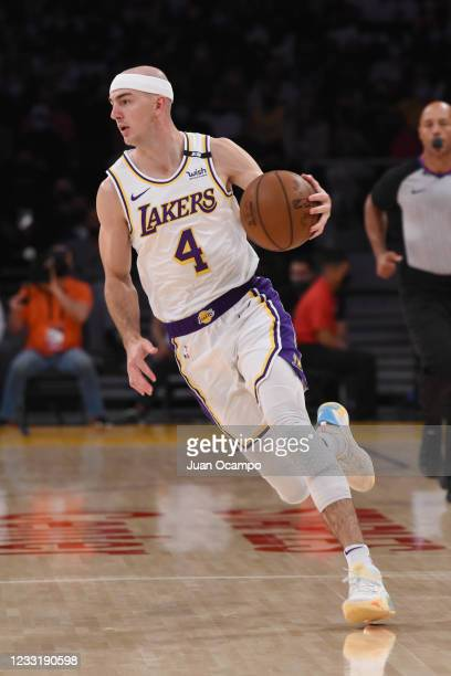 Alex Caruso of the Los Angeles Lakers dribbles the ball against the Phoenix Suns during Round 1, Game 4 of the 2021 NBA Playoffs on May 30, 2021 at...