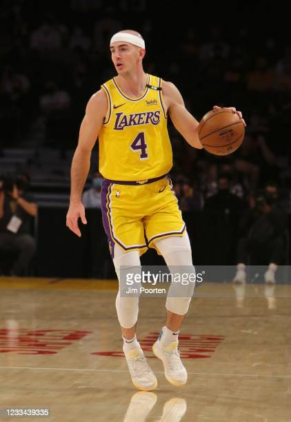 Alex Caruso of the Los Angeles Lakers dribbles the ball against the Phoenix Suns during Round 1, Game 3 of the the 2021 NBA Playoffs on May 27, 2021...
