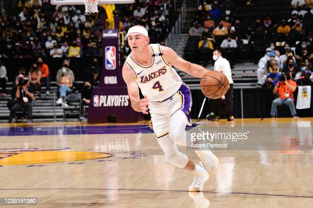 Alex Caruso of the Los Angeles Lakers dribbles the ball during the game against the Phoenix Suns during Round 1, Game 4 of the 2021 NBA Playoffs on...