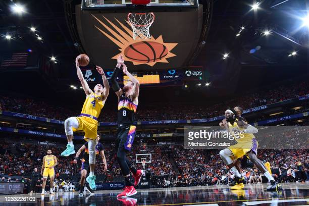 Alex Caruso of the Los Angeles Lakers drives to the basket against the Phoenix Suns during Round 1, Game 5 of the 2021 NBA Playoffs on June 1, 2021...