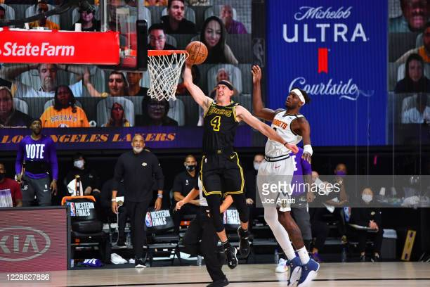 Alex Caruso of the Los Angeles Lakers dunks in the game against the Denver Nuggets in Game two of the Western Conference Finals of the 2020 Playoffs...