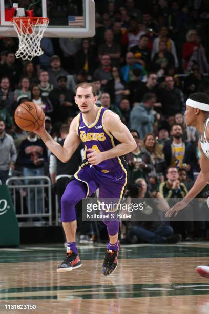 Alex Caruso of the Los Angeles Lakers handles the ball against the Milwaukee Bucks on March 19 2019 at the Fiserv Forum Center in Milwaukee Wisconsin...