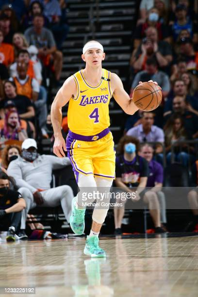 Alex Caruso of the Los Angeles Lakers handles the ball against the Phoenix Suns during Round 1, Game 5 of the 2021 NBA Playoffs on June 1, 2021 at...