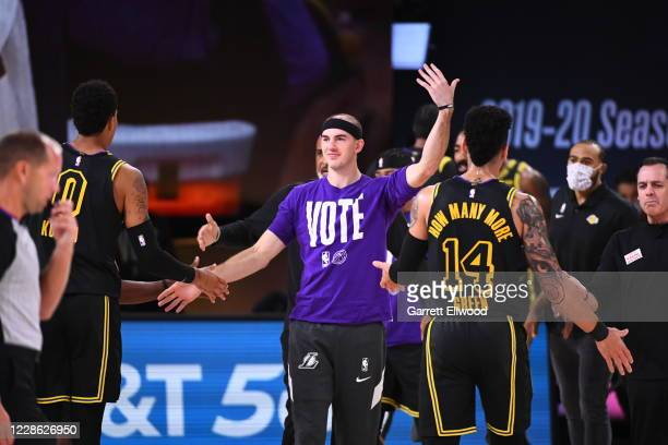 Alex Caruso of the Los Angeles Lakers looks on during the game against the Denver Nuggets during Game Two of the Western Conference Finals on...