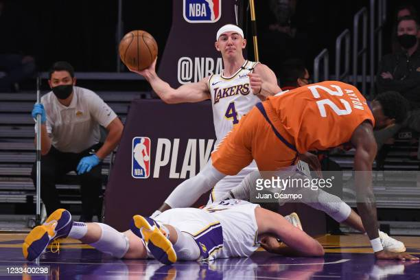 Alex Caruso of the Los Angeles Lakers looks to pass the ball during the game against the Phoenix Suns during Round 1, Game 4 of the 2021 NBA Playoffs...
