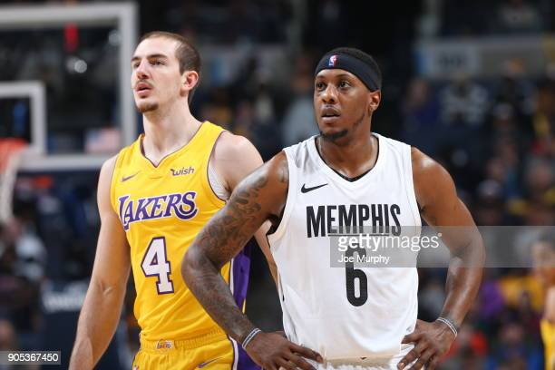 Alex Caruso of the Los Angeles Lakers plays defense against Mario Chalmers of the Memphis Grizzlies on January 15 2018 at FedExForum in Memphis...