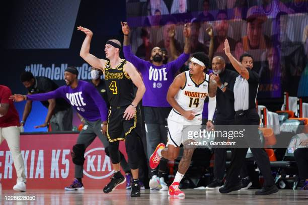 Alex Caruso of the Los Angeles Lakers reacts during a game against the Denver Nuggets during Game Two of the Western Conference Finals of the NBA...