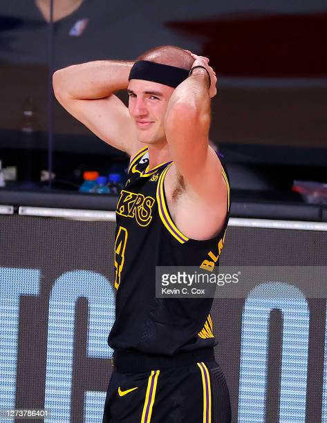 Alex Caruso of the Los Angeles Lakers reacts during the third quarter against the Los Angeles Lakers in Game Two of the Western Conference Finals...