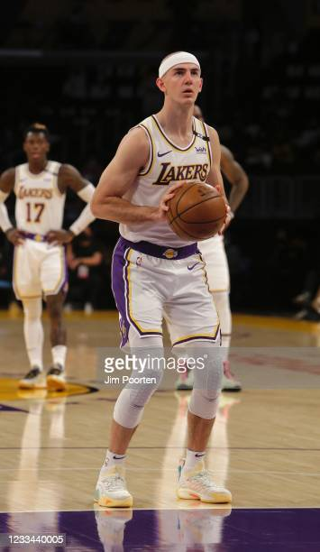 Alex Caruso of the Los Angeles Lakers shoots a free throw against the Phoenix Suns during Round 1, Game 4 of the the 2021 NBA Playoffs on May 30,...