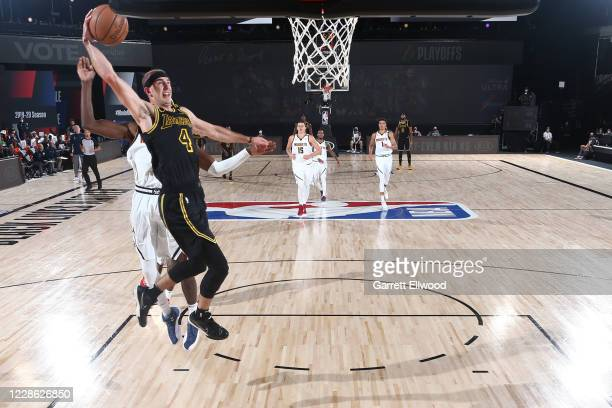 Alex Caruso of the Los Angeles Lakers shoots the ball against the Denver Nuggets during Game Two of the Western Conference Finals on September 20...