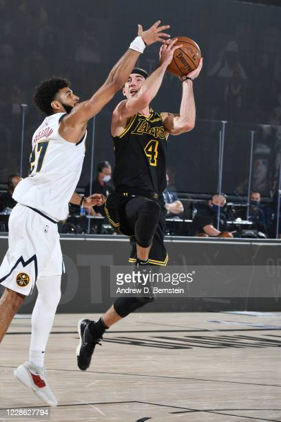Alex Caruso of the Los Angeles Lakers shoots the ball against the Denver Nuggets during Game Two of the Western Conference Finals of the NBA Playoffs...