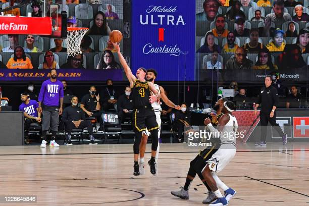 Alex Caruso of the Los Angeles Lakers shoots the ball against the Denver Nuggets in Game two of the Western Conference Finals of the 2020 Playoffs as...