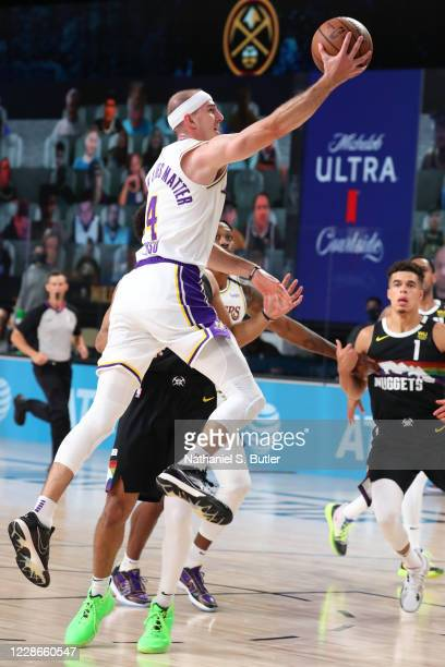 Alex Caruso of the Los Angeles Lakers shoots the ball against the Denver Nuggets during Game Three of the Western Conference Finals on September 22...