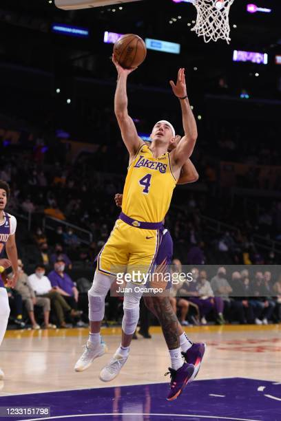 Alex Caruso of the Los Angeles Lakers shoots the ball against the Phoenix Suns during Round 1, Game 3 of the 2021 NBA Playoffs on May 27, 2021 at...