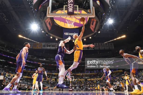Alex Caruso of the Los Angeles Lakers shoots the ball against the Phoenix Suns during Round 1, Game 6 of the 2021 NBA Playoffs on June 3, 2021 at...