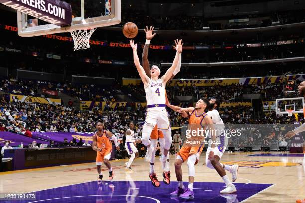 Alex Caruso of the Los Angeles Lakers shoots the ball during the game against the Phoenix Suns during Round 1, Game 4 of the 2021 NBA Playoffs on May...