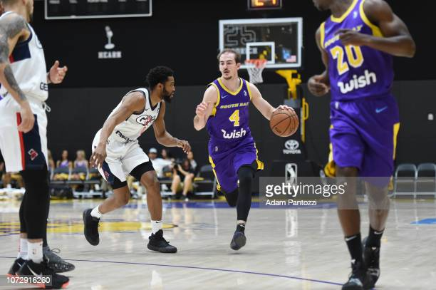 Alex Caruso of the South Bay Lakers handles the basketball against the Capital City GoGo on December 13 2018 at UCLA Heath Training Center in El...