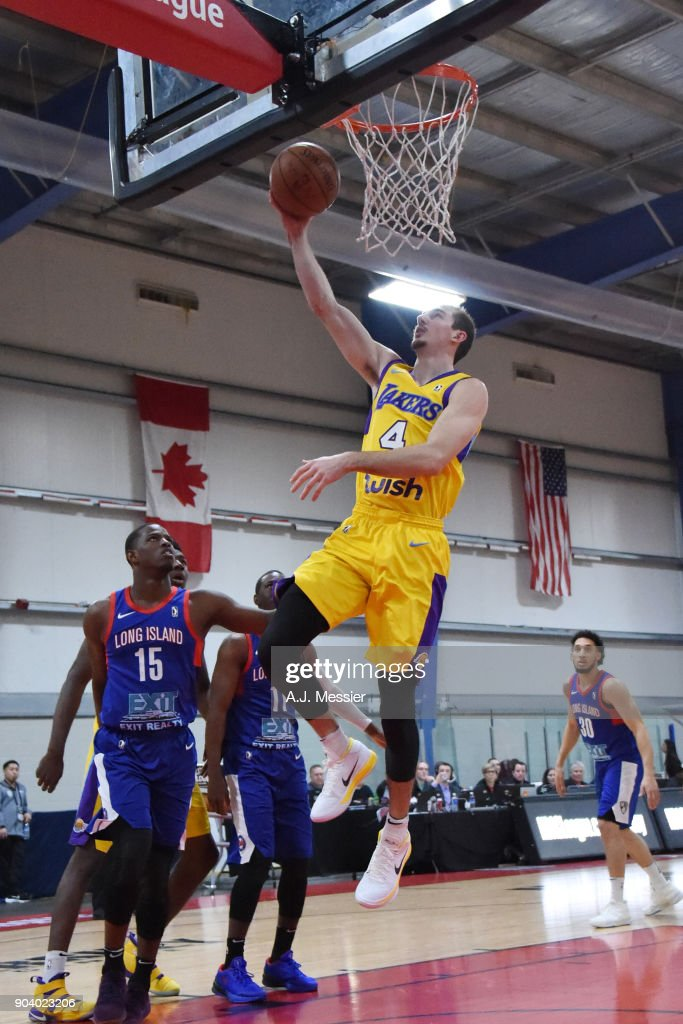 Alex Caruso #4 of the South Bay Lakers shoots the ball during the game against the Long Island Nets at the NBA G League Showcase Game 11 on January 11, 2018 at the Hershey Centre in Mississauga, Ontario Canada.