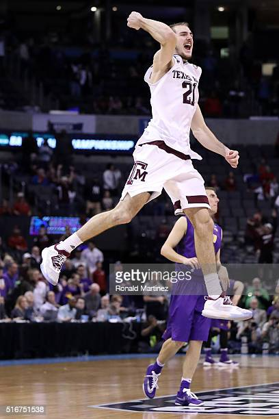 Alex Caruso of the Texas AM Aggies celebrates after defeating the Northern Iowa Panthers in double overtime with a score of 88 to 92 during the...