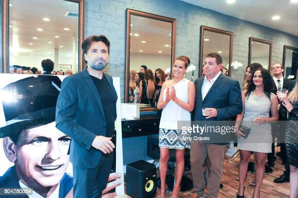 Alex Casalino addresses the crowd at A Night Out a fundraising event benefiting #MoveToEndDV hosted by Beverly Hills plastic surgeon Dr Marc Mani at...