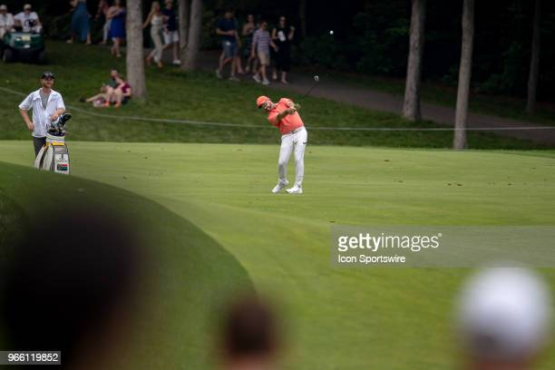 Alex Cejka of Germany drives the ball off the fairway during the third round of the Memorial Tournament at Muirfield Village Golf Club in Dublin Ohio...