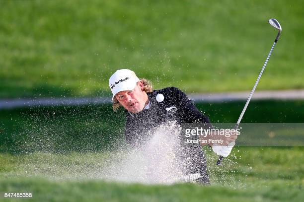 Alex Cejka of Germany hits out of the bunker on the 8th hole during the second round of the Webcom Tour Albertson's Boise Open at Hillcrest Country...