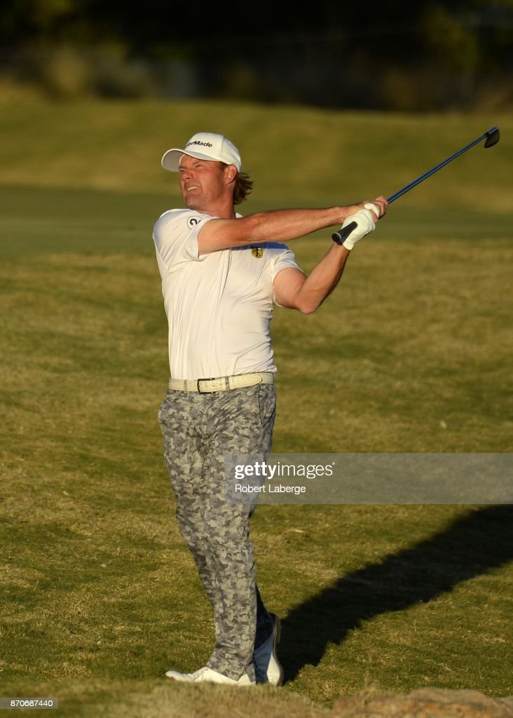 Alex Cejka of Germany makes an approach shot on the 18th hole and first extra hole during the final round of the Shriners Hospitals For Children Open at the TPC Summerlin on November 5, 2017 in Las Vegas, Nevada.