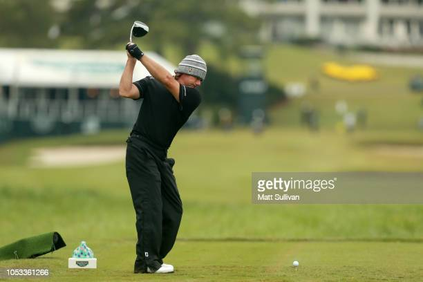 Alex Cejka of Germany plays his shot from the 18th tee during Sanderson Farms Championship Round One on October 25 2018 in Jackson Mississippi