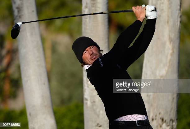 Alex Cejka of Germany plays his shot from the first tee during the third round of the CareerBuilder Challenge at La Quinta Country Club on January 20...