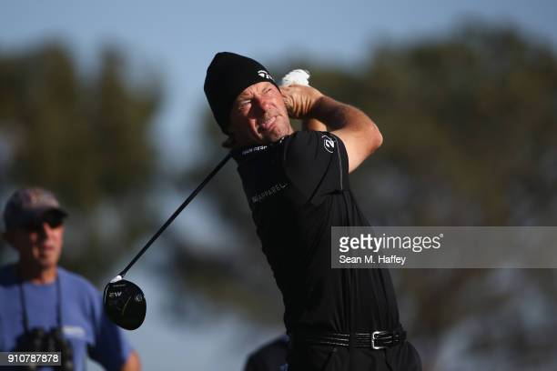 Alex Cejka of Germany plays his shot from the second tee during the second round of the Farmers Insurance Open at Torrey Pines South on January 26...