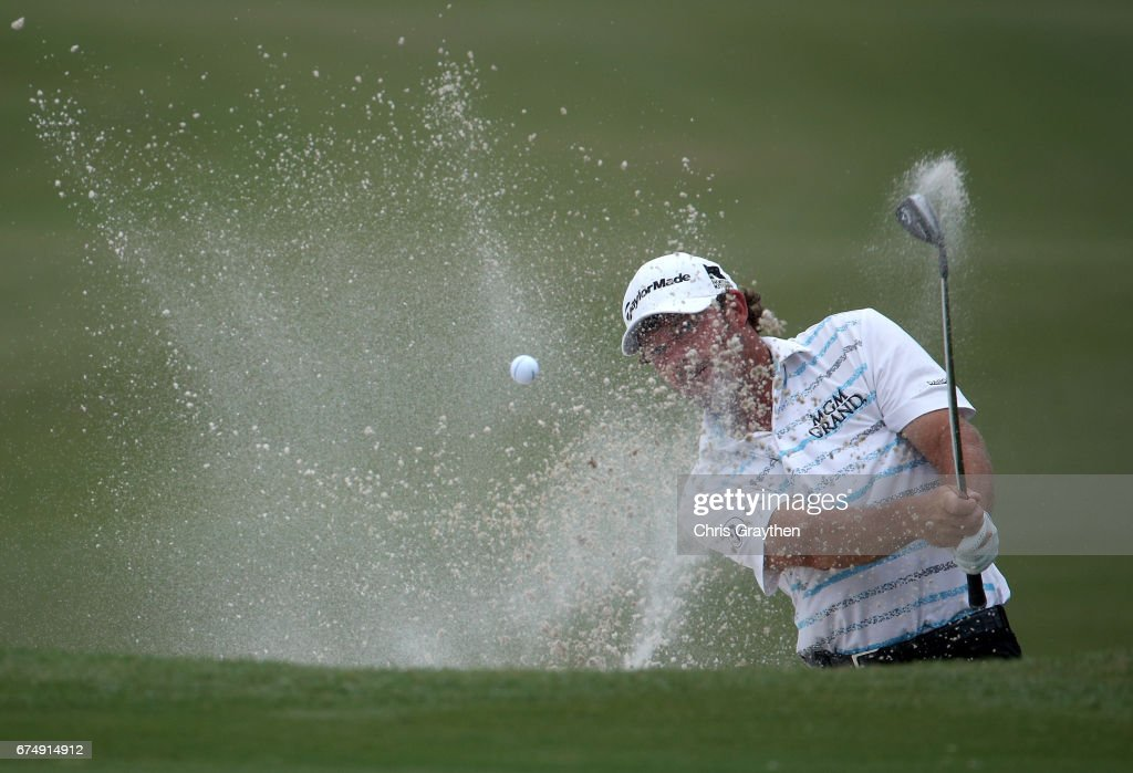 Alex Cejka of Germany plays his shot on the 18th hole during the third round of the Zurich Classic at TPC Louisiana on April 29, 2017 in Avondale, Louisiana.