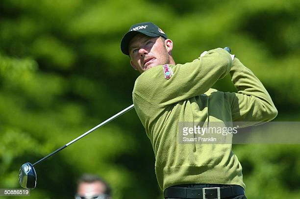 Alex Cejka of Germany plays his tee shot on the fifth hole during the third round of the Deutsche Bank SAP Open at St LeonRot Golf Club on May 22...