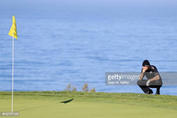 Alex Cejka of Germany reacts on the fourth green during the second round of the Farmers Insurance Open at Torrey Pines South on January 26 2018 in...