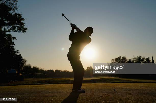 Alex Cejka of Germany tees off on the 11th hole during the first round at the Arnold Palmer Invitational Presented By MasterCard at Bay Hill Club and...