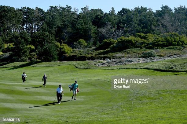 Alex Cejka of Germany walks across the fairway on the second hole during Preview Day 3 of the ATT Pebble Beach ProAm at Pebble Beach Golf Links on...