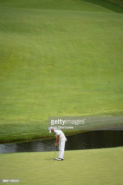 Alex Cejka on the ninth green during the third round of the Memorial Tournament at Muirfield Village Golf Club in Dublin Ohio on June 02 2018