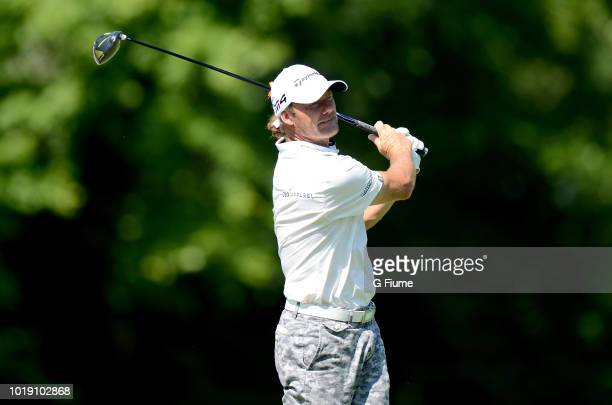 Alex Cejka tees off on the fourth hole during the third round of the Quicken Loans National at TPC Potomac on June 30 2018 in Potomac Maryland
