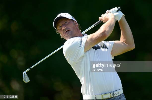 Alex Cejka tees off on the third hole during the third round of the Quicken Loans National at TPC Potomac on June 30 2018 in Potomac Maryland