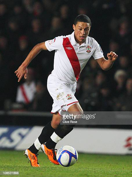 Alex Chamberlain of Southampton in action during the FA Cup sponsored by EON 4th Round match between Southampton and Manchester United at St Mary's...