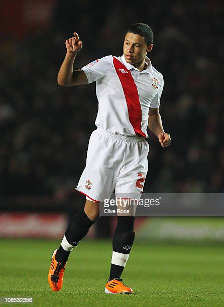 Alex Chamberlain of Southampton points during the FA Cup sponsored by EON 4th Round match between Southampton and Manchester United at St Mary's...