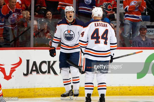 Alex Chiasson and Zack Kassian of the Edmonton Oilers celebrate a goal against the Calgary Flames during an NHL game on November 17 2018 at the...